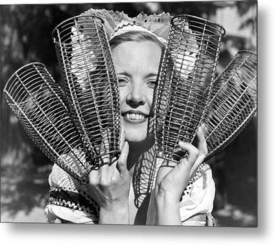 Champagne Bottle Holders Metal Print by Underwood Archives