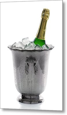 Champagne Bottle On Ice Metal Print by Johan Swanepoel