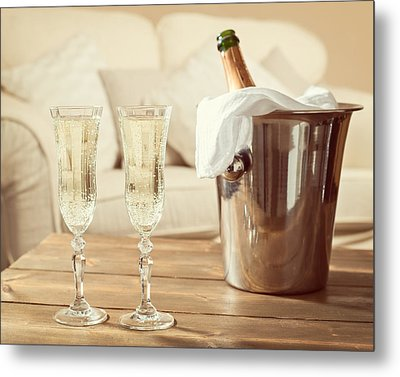 Champagne Celebration Metal Print by Amanda Elwell