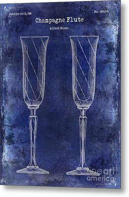 Champagne Flute Patent Drawing Blue Metal Print by Jon Neidert