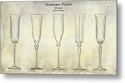 Champagne Flutes Design Patent Drawing Metal Print by Jon Neidert