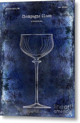 Champagne Glass Patent Drawing Blue 2 Metal Print by Jon Neidert