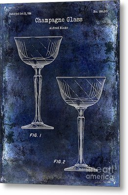 Champagne Glass Patent Drawing Blue Metal Print by Jon Neidert
