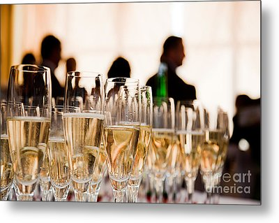 Champagne Glasses At The Party Metal Print by Michal Bednarek