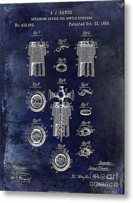 Champagne Retaining Device Patent 1889 Blue Metal Print by Jon Neidert