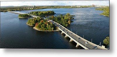Champlain Bridge Aerial Panorama Metal Print by Rob Huntley