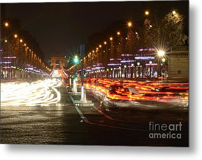 Champs-elysees And Arc De Triomphe Metal Print by Sami Sarkis
