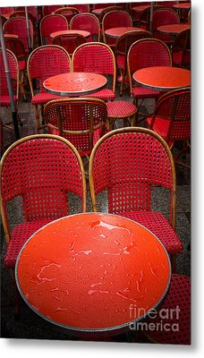Champs Elysees Cafe Metal Print by Inge Johnsson