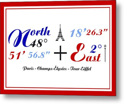 Champs Elysees In Paris And Tour Eiffel  Coordinate Art Metal Print
