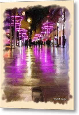 Champs Elysees In Pink Metal Print by Angela A Stanton
