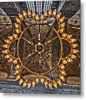 Chandelier At Hagia Sophia Metal Print