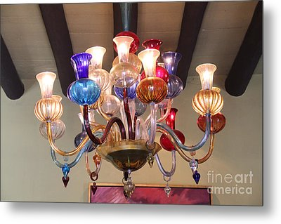 Chandelier At The Hotel California Metal Print by Linda Queally