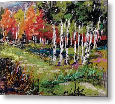 Metal Print featuring the painting Changing Birches by John Williams