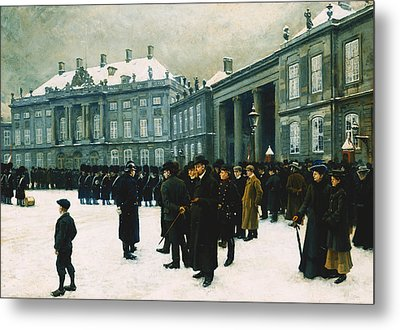 Changing Of The Guard At Amalienborg Palace Metal Print by Paul Fischer