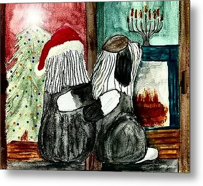 Chanukah Christmas Friends Metal Print