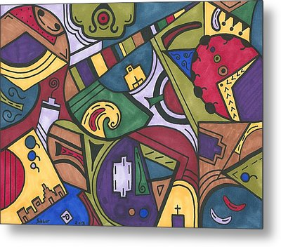 Chaos In The Hood Metal Print by Susie WEBER