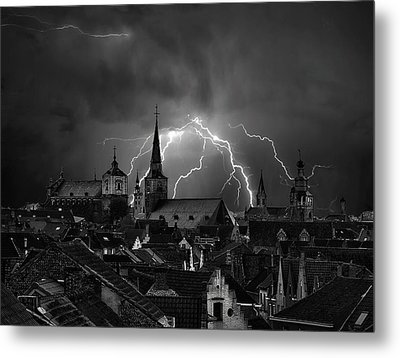 Chaos In The Sky Of Bruges Metal Print