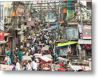 Chaotic Streets Of New Delhi In India Metal Print