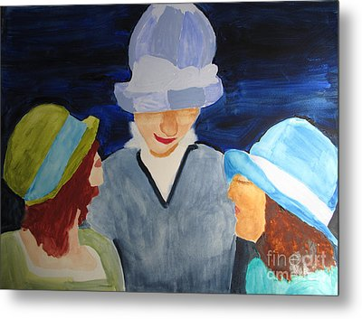 Metal Print featuring the painting Chapeaux Trois by Sandy McIntire