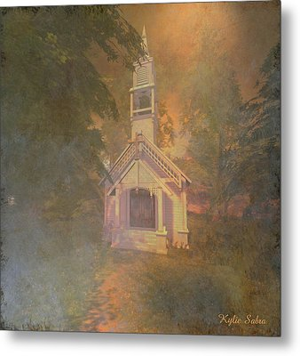 Chapel In The Wood Metal Print by Kylie Sabra