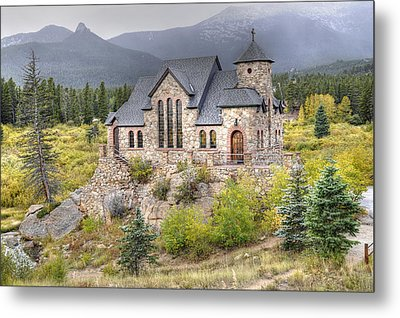 Chapel On The Rock - St Malo Center Metal Print by Geraldine Alexander