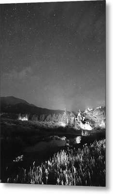Chapel On The Rock Stary Night Portrait Bw Metal Print by James BO  Insogna