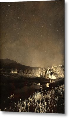 Chapel On The Rock Stary Night Portrait Monotone Metal Print by James BO  Insogna