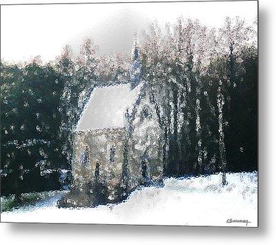 Chapel Under Snow Metal Print by Christian Simonian