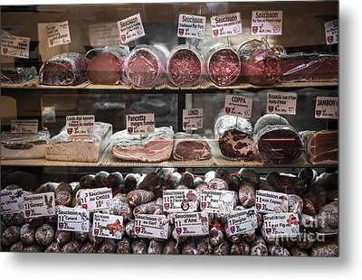 Charcuterie On Display In Butcher Shop In Old Nice Metal Print