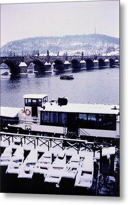 Charles Bridge In Winter Metal Print by Alexander Kurganov