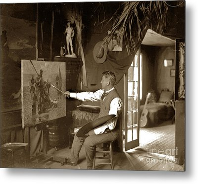 Charles Dickman Artist Monterey California Circa 1907 Metal Print by California Views Mr Pat Hathaway Archives