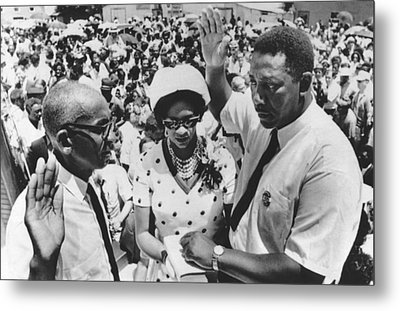 Charles Evers Becomes Mayor Metal Print by Underwood Archives