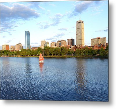 Charles River Sailboat Metal Print by Toby McGuire