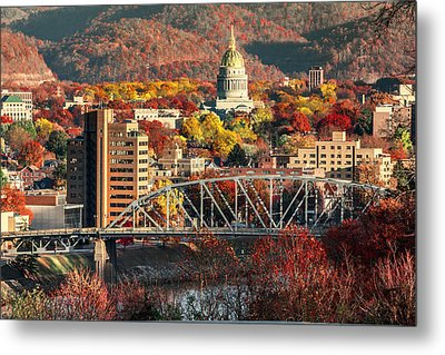 Charleston And Wv Capitol Metal Print by Mary Almond