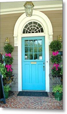 Charleston Aqua Teal French Quarter Doors - Charleston Aqua Blue Teal Garden Door Metal Print by Kathy Fornal