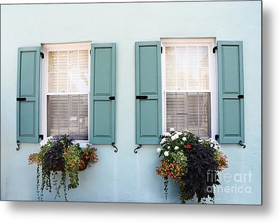 Charleston Aqua Teal French Quarter Rainbow Row Flower Window Boxes Metal Print by Kathy Fornal