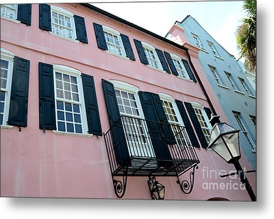 Charleston French Quarter Rainbow Row French Lace Iron Balconies Black And Pink Window Shutters  Metal Print