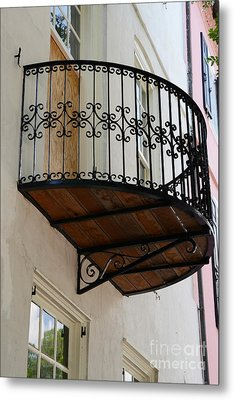 Charleston French Quarter Rainbow Row French Lace Iron Balconies Metal Print