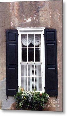 Charleston French Quarter Window Flower Box - Charleston Architecture Black And White Window Box Metal Print by Kathy Fornal