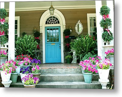 Charleston Garden- Blue Door Garden And Floral Art Metal Print by Kathy Fornal