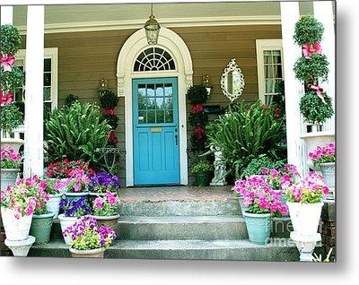 Charleston Garden- Blue Door Garden And Floral Art Metal Print