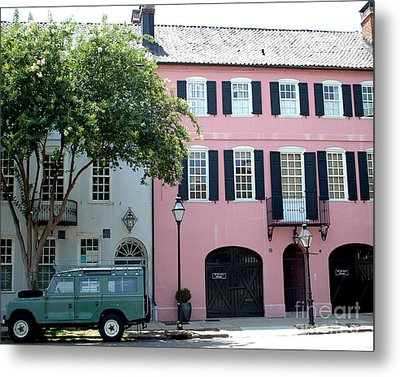 Charleston Rainbow Row Historical District Pink Black Architecture Street Scene  Metal Print