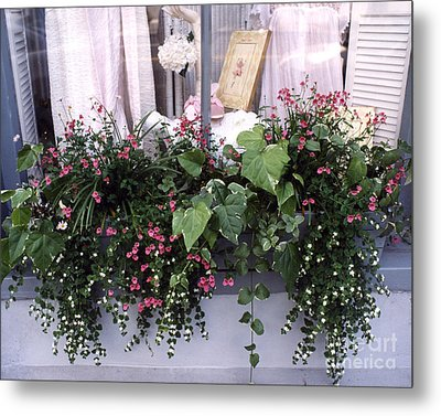 Charleston Romantic Floral Window Box Flowers Vintage Cottage Chic Flower Box  Metal Print by Kathy Fornal