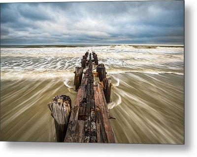 Charleston Sc Folly Beach Coastal Atlantic Ocean Metal Print by Dave Allen