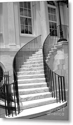 Charleston South Carolina Black White Staircase Architecture Metal Print by Kathy Fornal