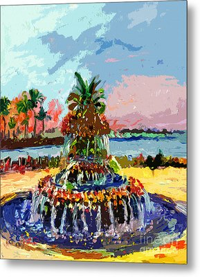 Charleston South Carolina Pineapple Fountain Painting Metal Print by Ginette Callaway