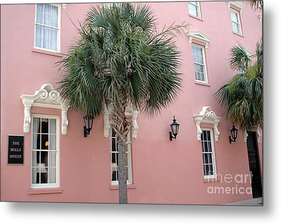 Charleston South Carolina Pink Architecture Historical District - The Mills House Metal Print by Kathy Fornal