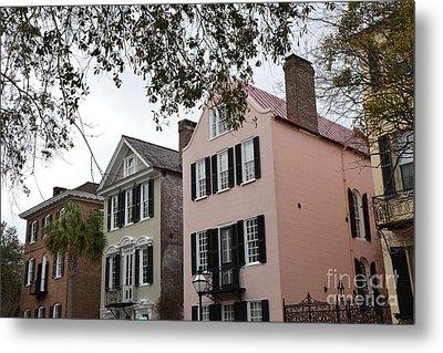 Charleston South Carolina Rainbow Row Historic Homes District Metal Print by Kathy Fornal