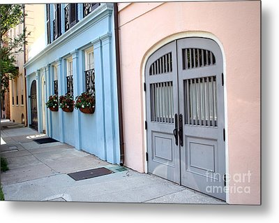 Charleston South Carolina - Rainbow Row - Historical District Architecture Metal Print