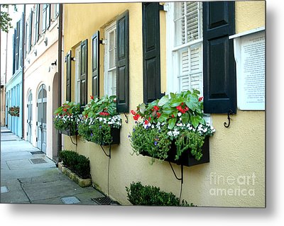 Charleston South Carolina - Rainbow Row Yellow Black Shutters Flower Window Boxes - French Quarter  Metal Print